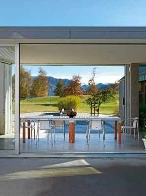 The atrium in Sally McChesney's Queenstown home looks out to Ben Lomond.