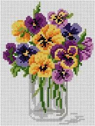 Flowers pansy cross stitch.