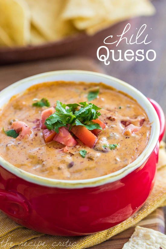 chili queso dip - I bet I could make this (slightly) healthier with vegetarian chili and some real cheese mixed in. Yum!