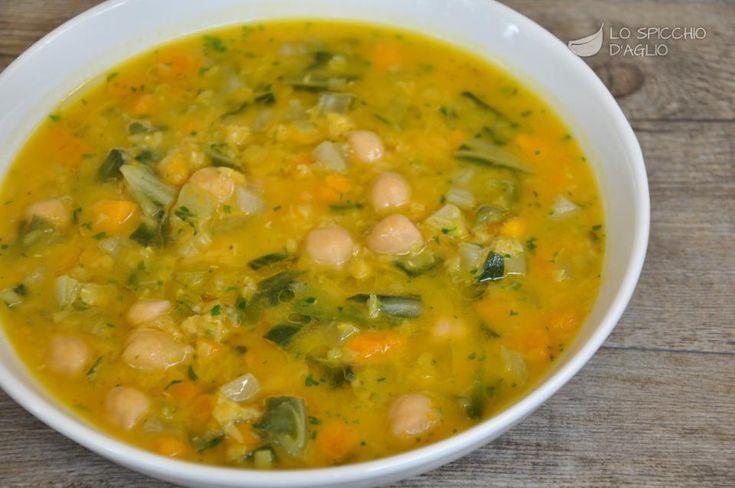 Zuppa di zucca, ceci e bietole