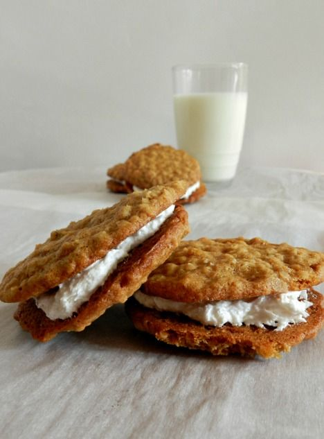 Homemade oatmeal cream sandwiches - scroll down.  The recipe is almost at the bottom of a very long list of other delicious looking treats.