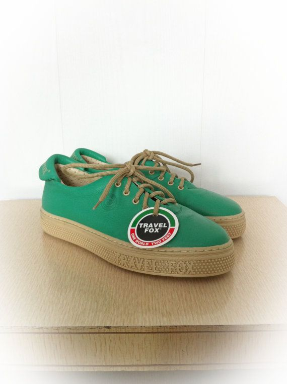 Vintage 1980s Travel Fox Shoes Green Sneakers Deadstock Euro 37 US 6.5