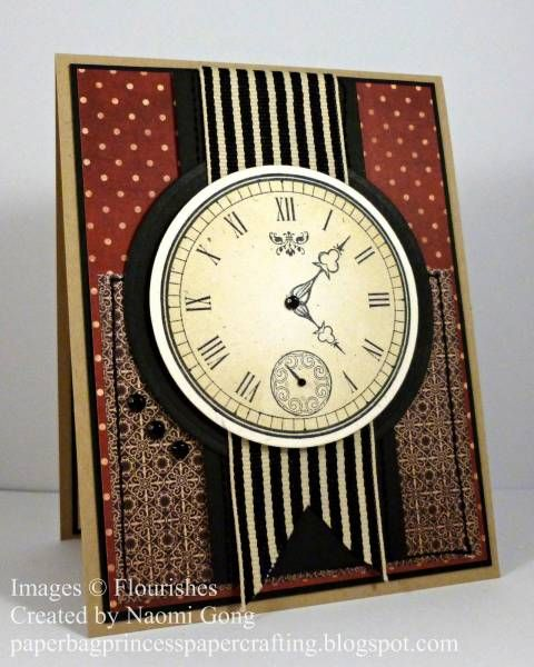 #cardsformen. Good layout, with ribbon on the back, with clock for focal point. For My handmade greeting cards visit me at My Personal blog: http://stampingwithbibiana.blogspot.com/