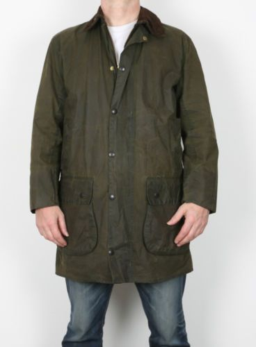 BARBOUR-Border-Unisex-Chest-36-10-12-Wax-Jacket-Green-Vintage-GFK