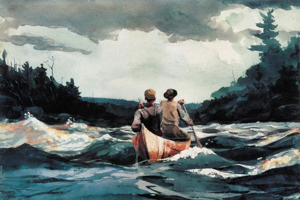 picturesque... this is a Canoe in the rapids, by Winslow Homer