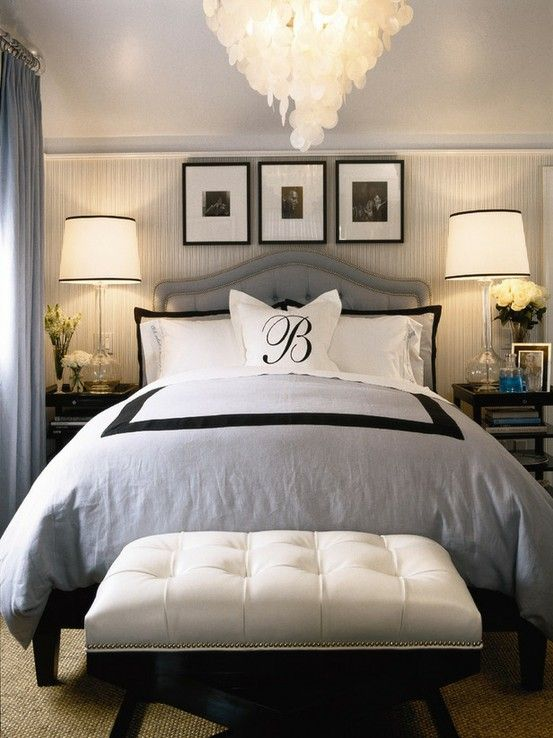 bedrooms - Oly Studio Serena Chandelier Regina Andrew Milano Antique Mercury Glass Lamp blue gray black wallpaper white bed headboard lamp bench tufting duvet  Love this...except those pictures above the headboard.  ClusterF*&% LOL