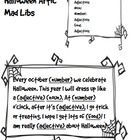 Free!! Halloween themed quick Mad Libs activity to work on articulation, parts of speech and reading.