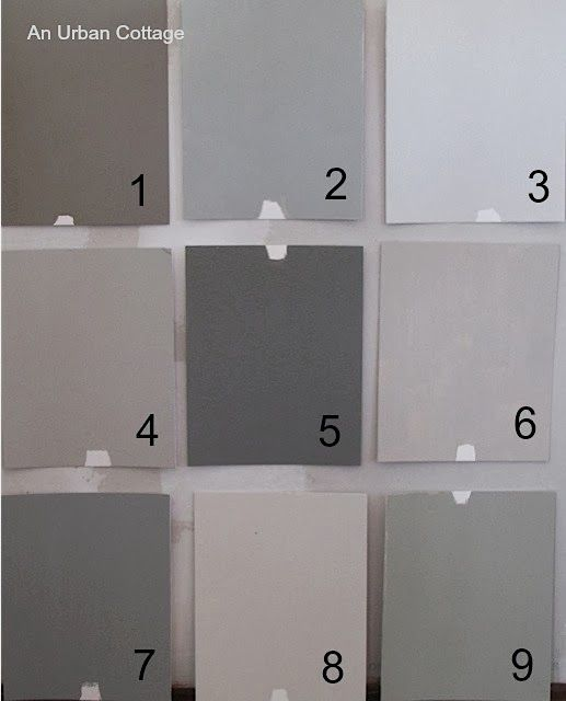 Farrow & Ball 1.  Charleston Gray 2.  Lamp Room Gray 3.  Ammonite 4.  Purbeck Stone 5.  Mole's Breath 6.  Elephant's Breath 7.  Manor House Gray 8.  Skimming Stone 9.  Hardwick White