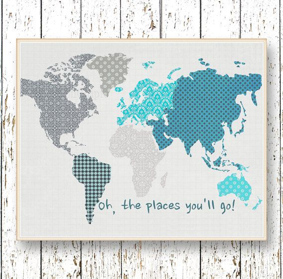 Oh, the Places you'll Go! Dr Seuss  Family Room playroom print - Kids wall art World map Blue and gray Boys bedroom art for children on Etsy, $14.00