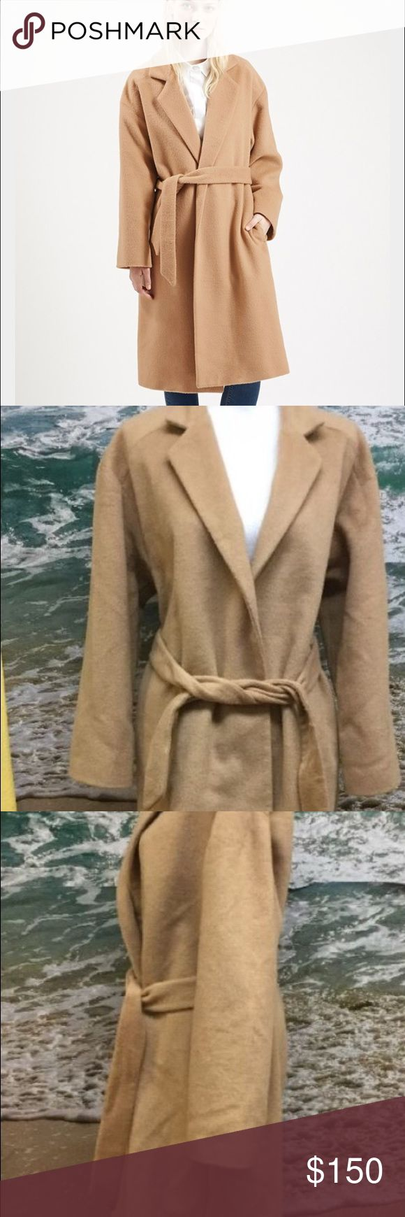 Top shop Moto women's long belted coat Super trendy new camel topshop coat camel color can be worn open or belted around waist barely worn great condition Topshop Jackets & Coats