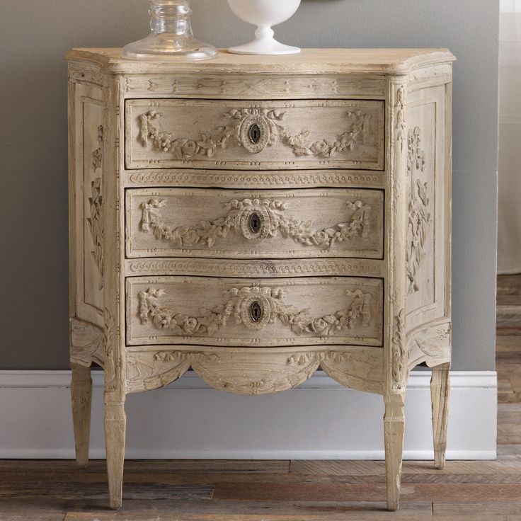 Small Three Drawer Carved Side Cabinet Almost Too Pretty