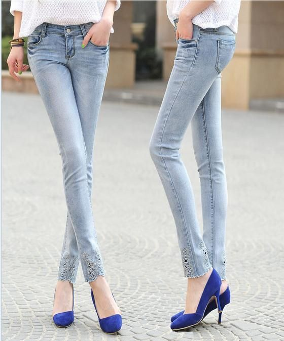 23.84$  Watch now - http://aliwqc.shopchina.info/go.php?t=32217884725 - Free shipping Fashion lady Denim Pencil Pants Womens Skinny Jeans Butterfly Capris Large Size 26-32 23.84$ #aliexpressideas