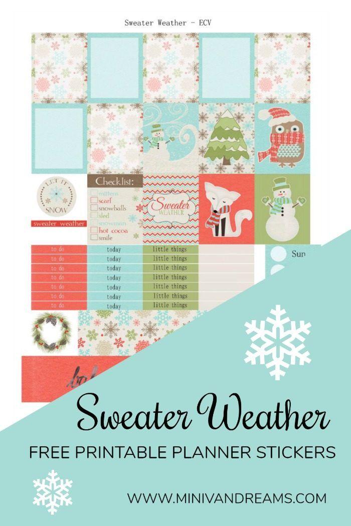 Free Printable Planner Stickers: Sweater Weather via Mini Van Dreams
