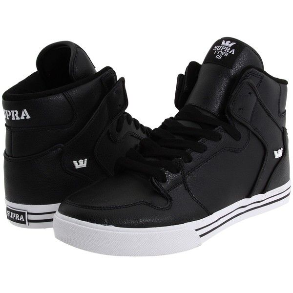 Supra Vaider ($43) ❤ liked on Polyvore featuring shoes, sneakers, supra, genuine leather shoes, leather hi tops, breathable leather shoes, leather shoes and supra high tops