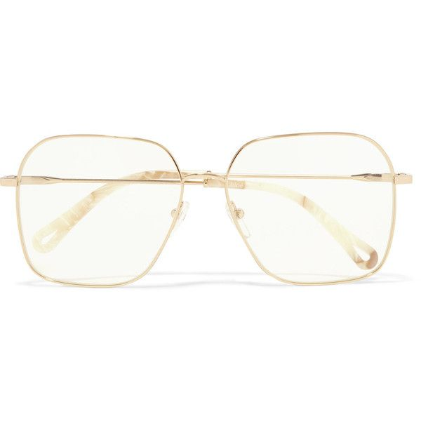 Chloé Palma square-frame gold-tone optical glasses ($345) ❤ liked on Polyvore featuring accessories, eyewear, eyeglasses, gold, retro glasses, sports eyewear, lens glasses, square frame eyeglasses and chloe eyewear