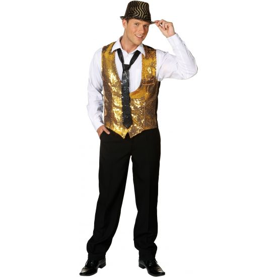Gouden heren gilet met pailletten. Dit glimmende gouden vestje is voorzien van pailletten en is uitermate geschikt voor een disco of glamour en glitter themafeestje.