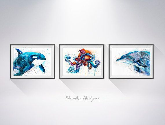 Buy two Get one FREE! Orca Dolphin Octopus watercolor painting print, animal illustration, sea animal, sea set, sea art, sea illustration Buy two Get