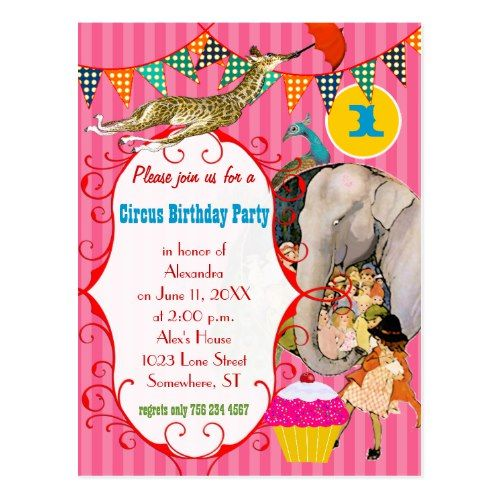 One Year Old Circus Elephant Peacock Giraffe Party Postcard