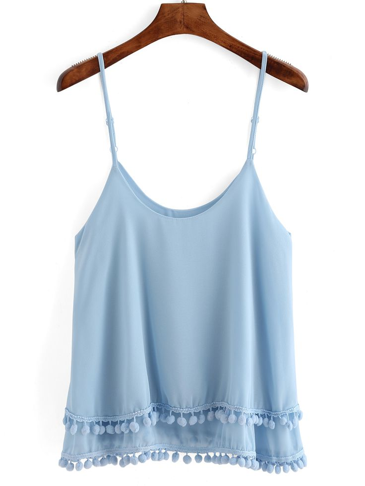 Spaghetti Strap Pom Pom Layered Cami Top