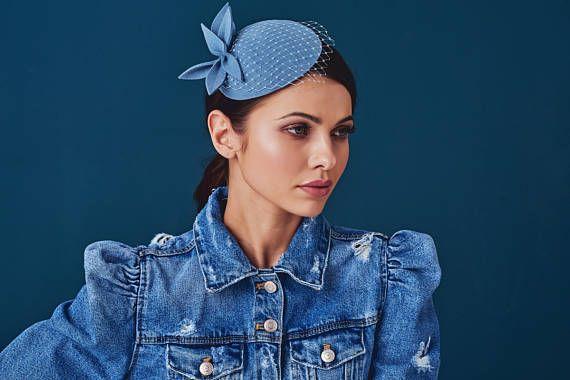 Blue Wool Felt  Fascinator Mini Hat with the Veil
