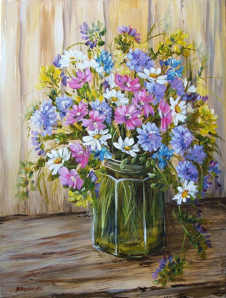 Bukiet łąkowych kwiatów - Maria Roszkowska - obraz olejny