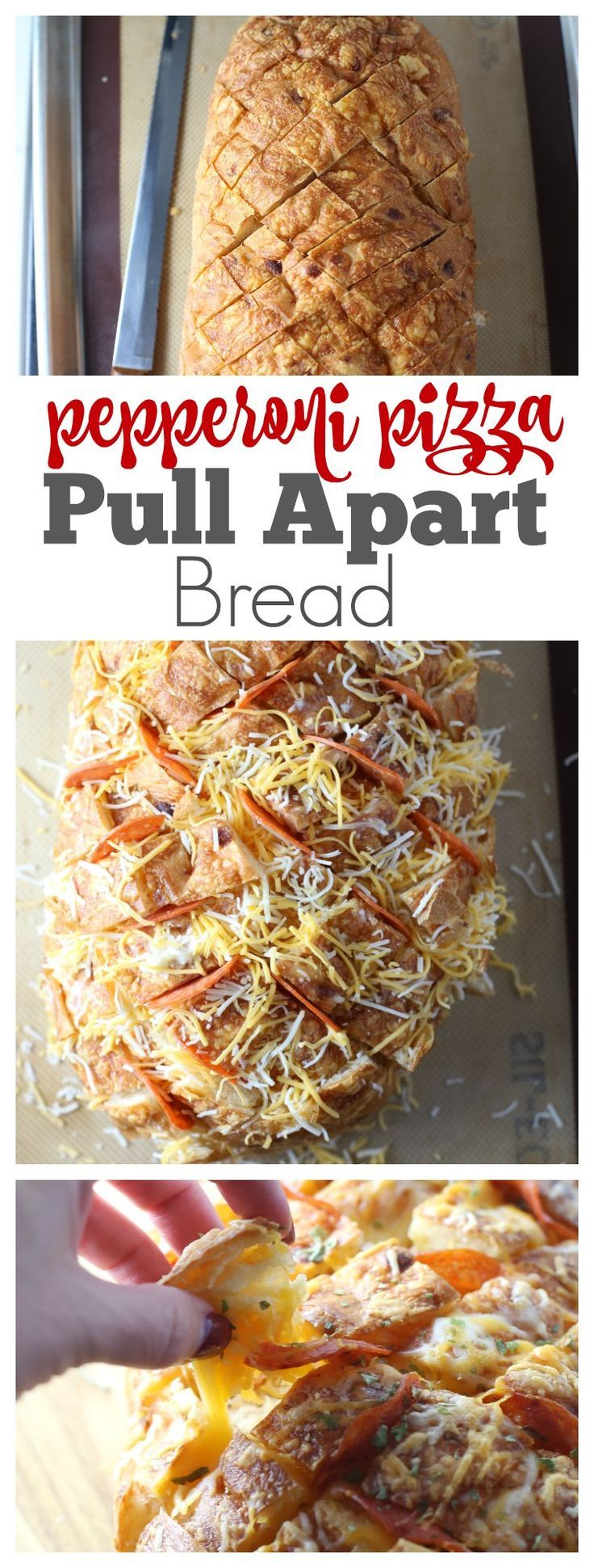 Cheesy Pizza Pull-a-part Garlic Bread with Pepperoni