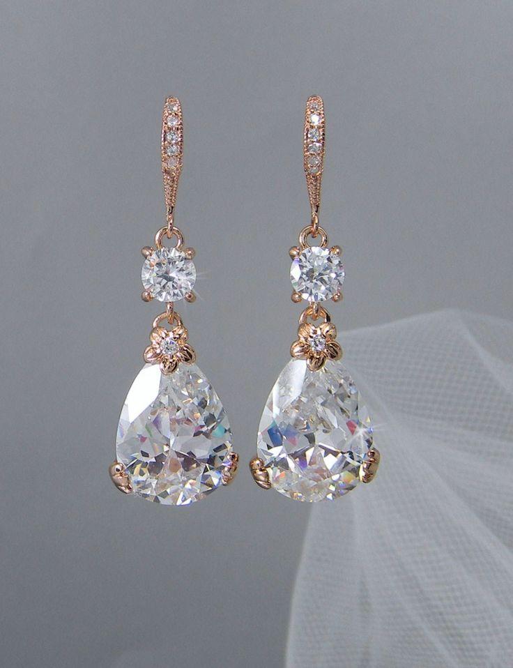 Rose Gold Bridal Earrings, Drop Wedding Earrings, Swarovski, Bridesmaids Jewelry, Megan Bridal Earrings by CrystalAvenues on Etsy