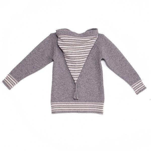 2013104 Stripe hooded sweater grey
