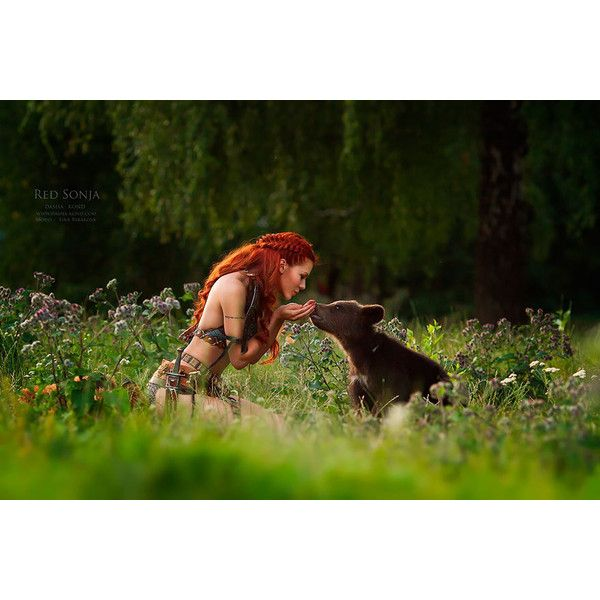 Russian Photographer Captures Fairy-Tale Scenes With REAL Animals ❤ liked on Polyvore featuring people