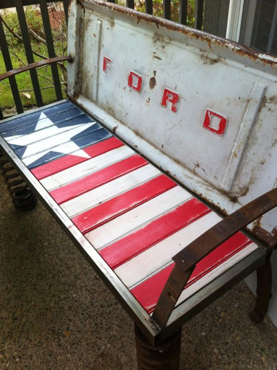 Rusty Old Car Parts Patriotic Bench by doublestardesign on Etsy