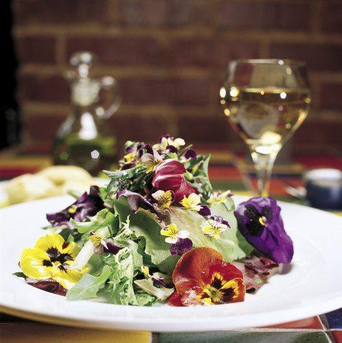 Salada Verde com Camarão e Flores Comestíveis