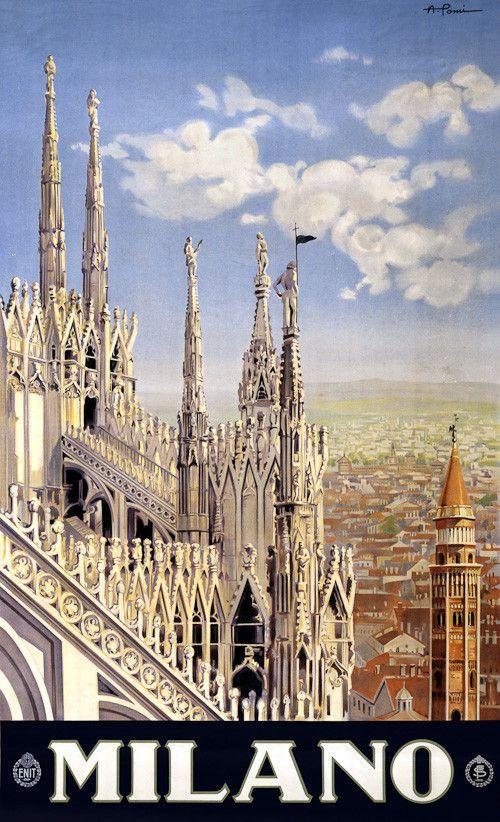 Milano. A vintage travel poster for Milan, Italy. Allessandro Porni, c. 1920.