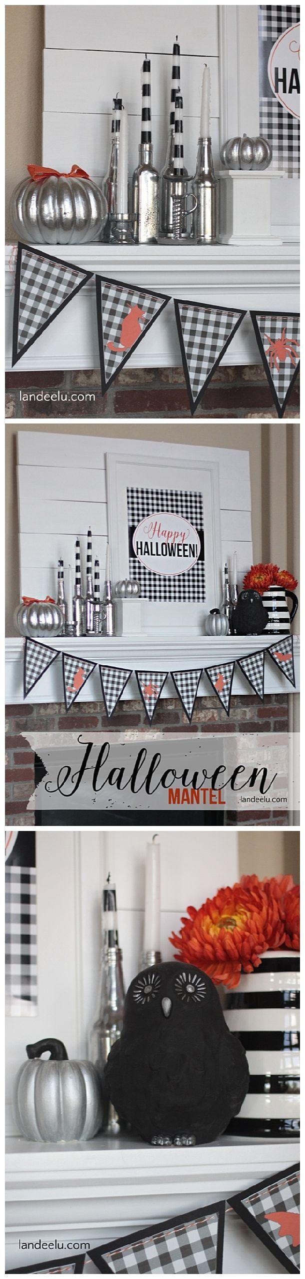 Black and White Halloween Mantel DIY Decoration