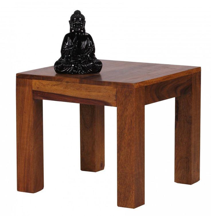 WOHNLING Couchtisch Massiv Holz Sheesham 45 Cm Breit Wohnzimmer Tisch  Design Dunkel Braun