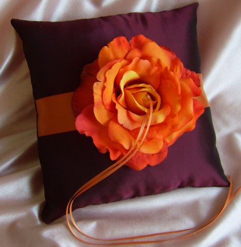 Burgundy and Burnt Orange Wedding Colors Ring Bearer Pillow