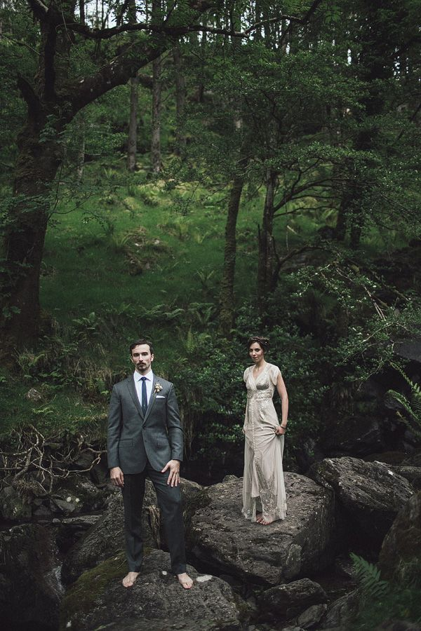 wedding portrait in the forest - Read more on One Fab Day: http://onefabday.com/gougane-barra-hotel-wedding-pawel-bebenca/