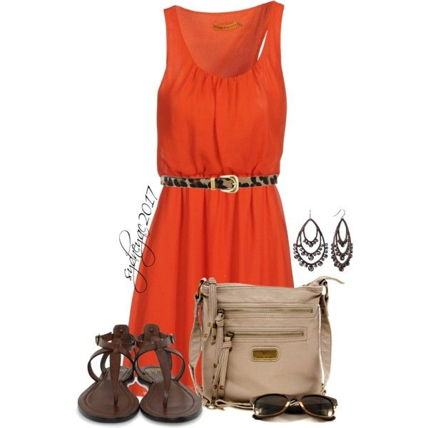 """""""Orange Dress"""" by sydneyac2017 on Polyvore Clothes Casual Outift for • teens • movies • girls • women •. summer • fall • spring • winter • outfit ideas • dates • parties Polyvore :) Catalina Christiano Thong sandals"""