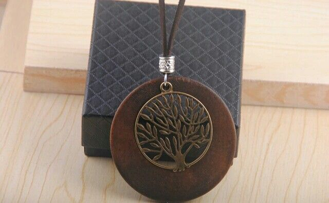 Wooden pendant with tree of life