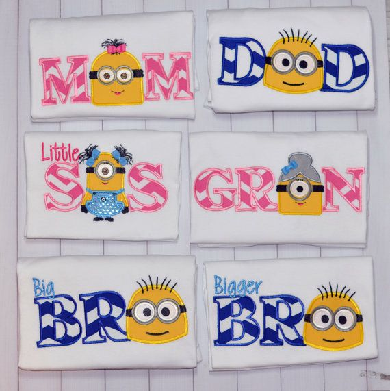Minion Birthday  Shirt Mom  Dad  Brother  by bowsandgirls on Etsy
