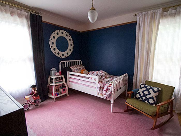 dark blue and pink toddler room