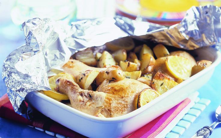 Griekse kip met aardappelen en citroen