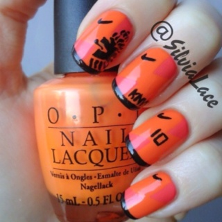 Silvia Lace Nails: Nail art inspired by the new jersey of the Dutch football team. Go Oranje!
