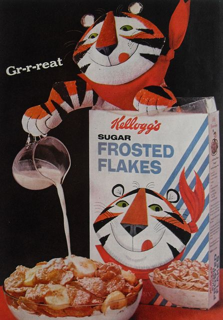 1960s Kelloggs Frosted Flakes Cereal, Tony the Tiger, Vintage Advertisement