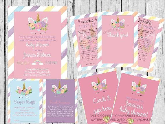 Party Printables By Pretty Ink Prettyprintsink See More Unicorn Baby Shower Invitation Girl Bundle