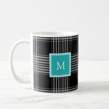 Modern Black White Buffalo Check Monogram Coffee Mug