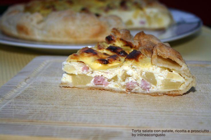 Torta salata con patate, ricotta e prosciutto