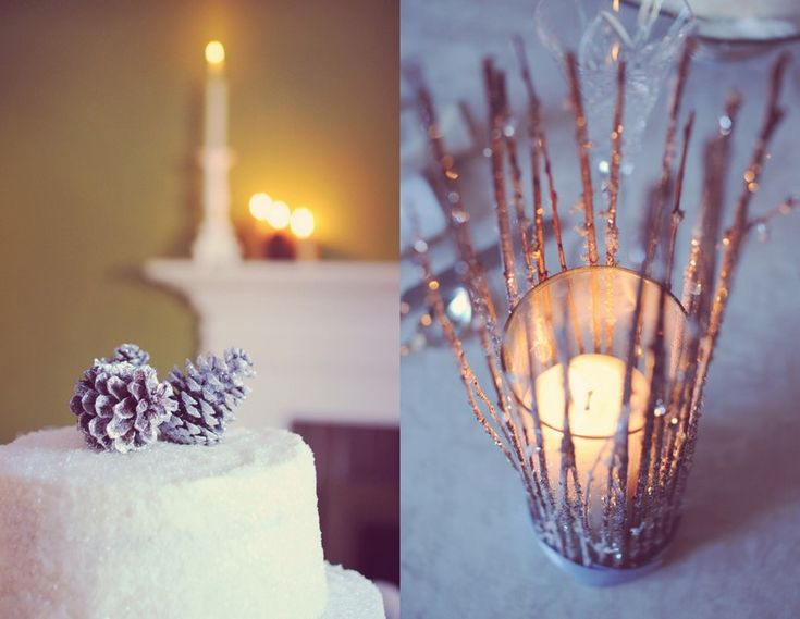 Pretty candle idea - clear glass votive holder, a bunch of twigs rolled in irridescent glitter/crystals, hot glue and ribbon at the base.