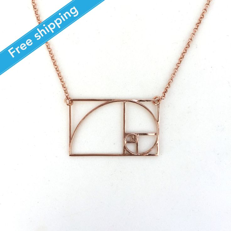 science jewelry: 14K rose gold plated golden ratio necklace - 3D printed math pendant - mathematics - Phi - irrational Fibonacci sequence by somersault1824 on Etsy https://www.etsy.com/listing/238077980/science-jewelry-14k-rose-gold-plated