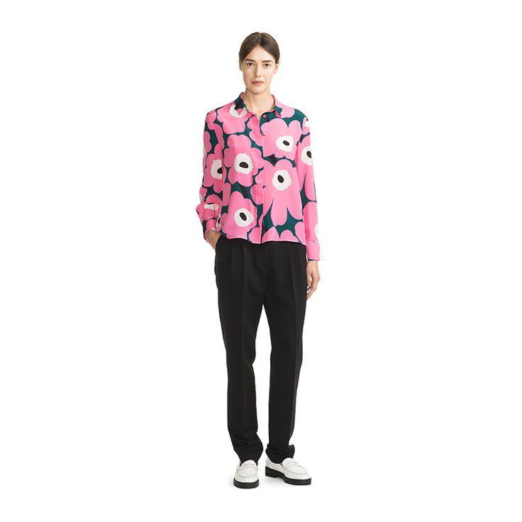Marimekko Apparel - Pavot Unikko Silk Blouse - 631 Pink/Green/White - – Kiitos living by design