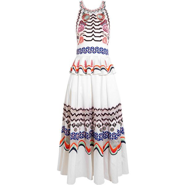 Temperley London Temperley London - Spellbound Embroidered... found on Polyvore featuring dresses, peplum midi dress, embroidered dress, white midi dress, loose dresses and white day dress
